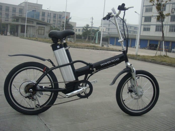 Easy E-Biking - city foldable e-bike parked, helping to make electric biking practical and fun