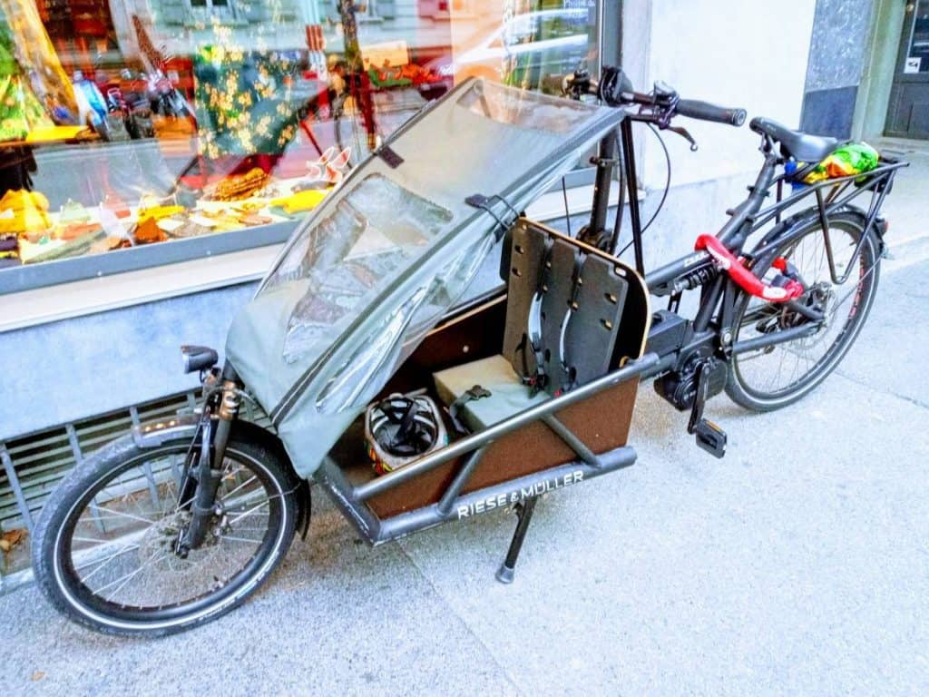 Easy E-Biking - cargo e-bike parked city , helping to make electric biking practical and fun
