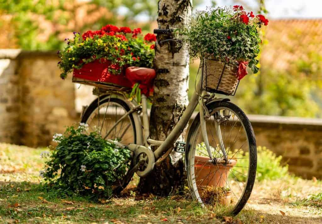 Easy E-Biking - bike parked flowers, helping to make electric biking practical and fun